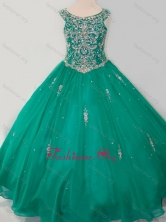 Classical Puffy Skirt Scoop Dark Green Little Girl Pageant Dress with Beading SWLG017FOR