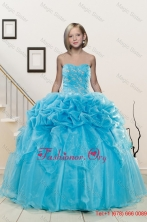 Popular Aqua Blue Little Girl Pageant Dress with Appliques and Pick Ups for XFLGA37FOR