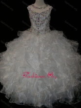 Princess Ball Gown Scoop Beaded Bodice Lace Up Little Girl Pageant Dress in White SWLG009-1FOR
