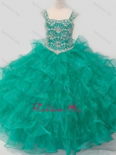 Top Selling Princess Straps Organza Turquoise Lace Up Little Girl Pageant Dress with Beading SWLG013FOR