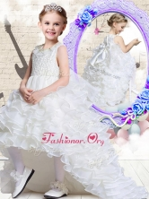 Lovely Scoop High Low White Flower Girl Dresses with Ruffled Layers FGL268FOR