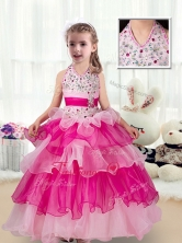 Pretty Halter Top Flower Girl Dresses with Ruffled Layers FGL224FOR