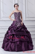 Cheap Eggplant Purple Sweetheart Embroidery and Pick ups Quinceanera Dress FVQD034FOR