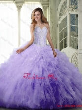 Perfect Ball Gown Sweetheart Lavender Quinceanera Dresses with Beading and Ruffles SJQDDT70002-1FOR