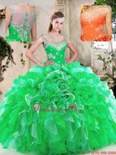 Top Selling Scoop Quinceanera Dresses with Beading and Ruffles SJQDDT238002-1FOR