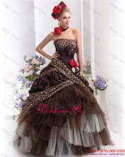 Perfect Leopard Multi Color Prom Dresses with Hand Made Flowers  WMDPD225FOR