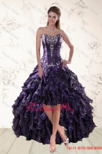 2015 Fall Exclusive Purple High Low Prom Dresses for Spring XFNAO020TZBFOR