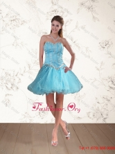 Cute Baby Blue Sweetheart Prom Dresses with Ruffles and Beading QDZY109TZCFOR