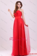 Cute Empire Sweetheart Red Floor-length Tulle Prom Dress with Ruching FFPD048FOR