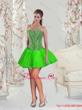 Detachable Beading and Ruffles Quince Dresses in Spring Green for 2015 Fall QDDTA1002-6FOR