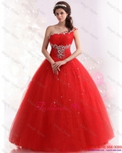 2015 Perfect Red One Shoulder Sweet 15 Dresses with Rhinestones  WMDQD019FOR