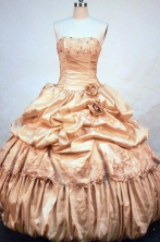 Discout Ball Gown Strapless Floor-length Gold Taffeta Beading Quinceanera dress Style FA-L-253