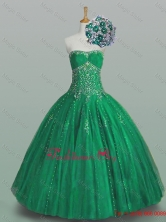 Perfect 2015 Ball Gown Beaded Green Sweet 16 Dresses with Appliques SWQD005FOR