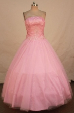 Romantic Ball Gown Strapless Floor-length Baby Pink Appliques Quinceanera dress Style FA-L-339
