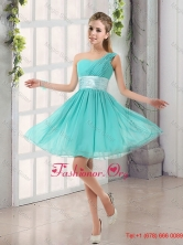 2016 Summer Cheap  Natural One Shoulder A Line Ruching Lace Up Dama Dress  BMT002BFOR