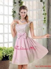 Custom Made A Line Straps Discount Dama Dresses with Bowknot BMT010B-4FOR