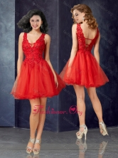 Beautiful Deep V Neckline Tulle Red Prom Dress with Lace PME1983FOR