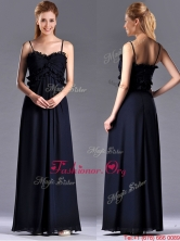 Simple Empire Straps Chiffon Ruching Navy Blue Prom Dress for Holiday THPD288FOR