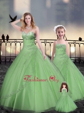 Ball Gown Macthing Sister Dresses in Spring Green with Beading and Appliques XFQD963-12-LGFOR