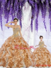Most Popular Organza Beading and Ruffles Princesita with Quinceanera Dresses in Champagne ZY791-LG-9FOR