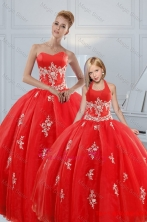Most Popular Red Puffy Princesita with Quinceanera Dresses with Appliques XFNAOA38-LGFOR