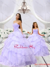 Unique Beading and Ruching Princesita with Quinceanera Dresses in Lavender MLXN911415-LG-4FOR