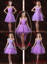 2016 Popular Laced Lilac Dama Dresses with A Line BMT058FOR