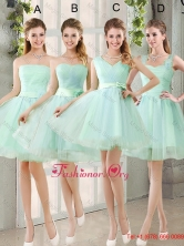 2016 Spring A Line Ruching Dama Dresses with Belt in Apple Green BMT014-5FOR