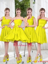 2016 Summer Simple One Shoulder Dama Dresses in Yellow Green BMT001-9FOR