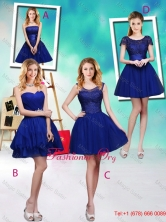 Wonderful Mini Length Royal Blue Dama Dresses with Appliques BMT034FOR