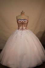 Lovely ball gown strapless floor-length embroidery with burgundy quinceanera dresses FA-X-045